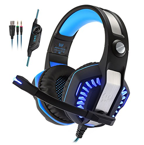 KOTION EACH G2000 2.0 Vibration Over-ear Gaming Headset with Mic 3.5mm, 2.2m Cable, Volume Control, LED Light Noise Reduction Headphones for Computer Games, PS4,Laptops, Tablet, Smartphones (Blue) by KOTION EACH