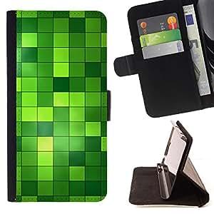 - BLING PATTERN BRIGHT GREEN CHECKERED - - Prima caja de la PU billetera de cuero con ranuras para tarjetas, efectivo desmontable correa para l Funny HouseFOR Samsung Galaxy S4 Mini i9190