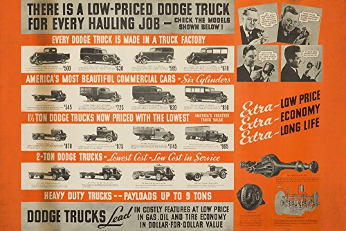 Dodge Trucks - USA c. 1938 - Vintage Advertisement (12x18 SIGNED Print Master Art Print w/Certificate of Authenticity - Wall Decor Travel Poster)