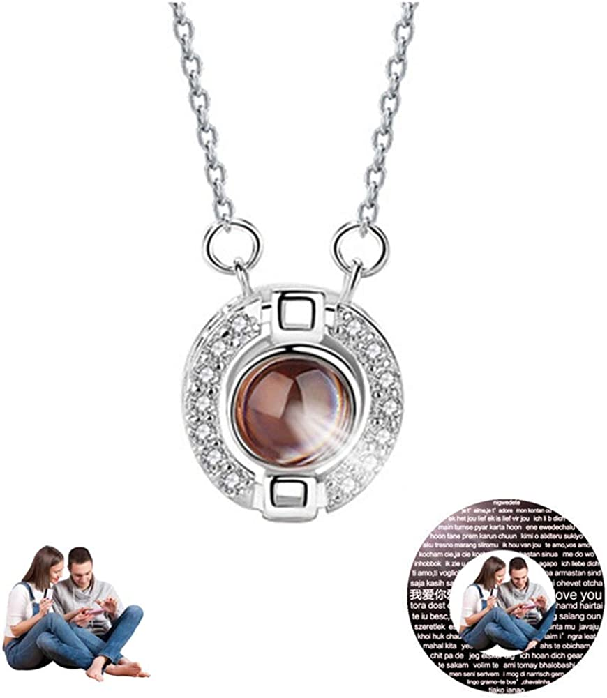 FACOCO 925 Silver Projection Necklace Custom Photo Necklace 100 Languages I Love You