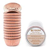 Gifbera Mini Rose Gold Foil Cupcake Liners Metallic
