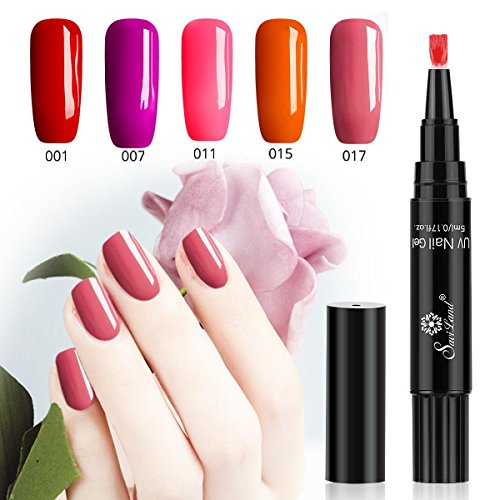One Step Gel Nail Polish Pen, No Base Top Coat Need, Saviland 3 in 1 Soak Off UV LED Nail Varnish Nail Art Kit (Red series) (Nail Gel Pen)