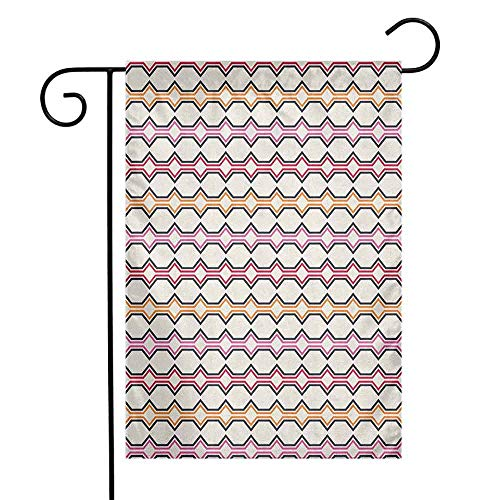 (duommhome Geometric Garden Flag Hexagonal Shapes with Warm Tones Curved Lines and Rectangle Design Retro Motifs Decorative Flags for Garden Yard Lawn W12 x L18 Multicolor)