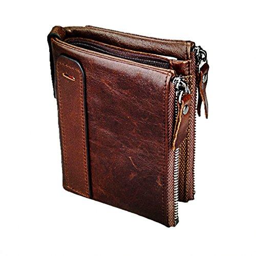 (Mens Leather Wallet Genuine Leather Cowhide Zip Wallet Vintage Bifold With Double Minimalist Vintage Wallets Pockets Dark Brown, 4.8