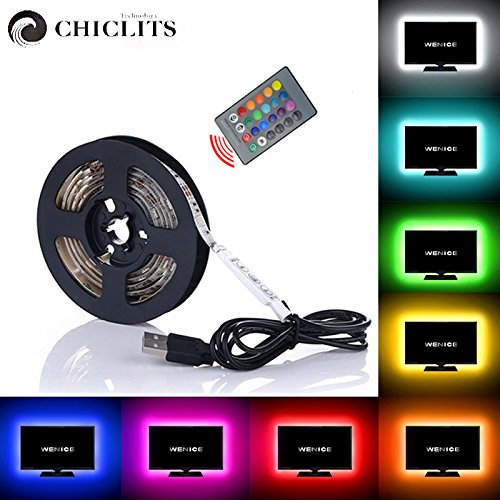 LED TV backlight 9.84ft 3M, USB LED strip lights with 24key IR Remote 5050 not Waterproof LED Strip for Car Bedroom PC Bicycle