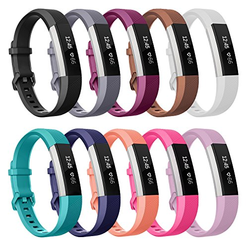Henoda Compatible with Fitbit Alta/Fitbit Alta HR Bands, Small 10 Color Soft Replacement Band Adjustable Sport Strap Compatible for Fitbit Alta/Fitbit Alta HR/Fitbit Ace Fitness Wristbands