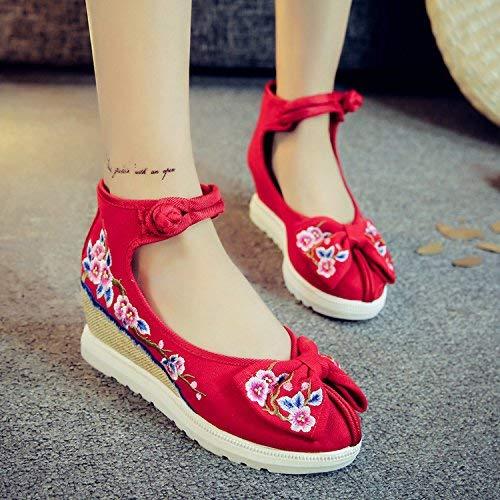 Augmentées Brodées Ethnique Taille Confortable Style Désinvolte 38 Chaussures Fuxitoggo Lin Tendon coloré Semelle Rouge Féminines Mode 8wF5TxwnH
