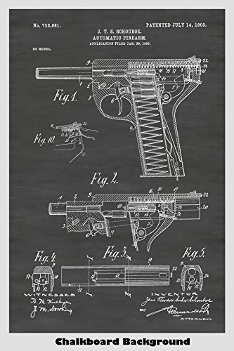 Schouboe M1903 Automatic Pistol Poster Patent Print for sale  Delivered anywhere in USA