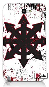 Chaos Symbol Distressed Look with Splatter Unique Quality Hard Snap On Case for Samsung Galaxy Note 2 Note II N7100 (WHITE) by supermalls