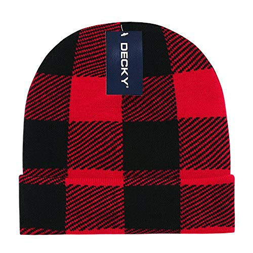 (DECKY Red Black Buffalo Plaid Flannel Look Cuffed Long Winter Watch Stocking Cap Hat)