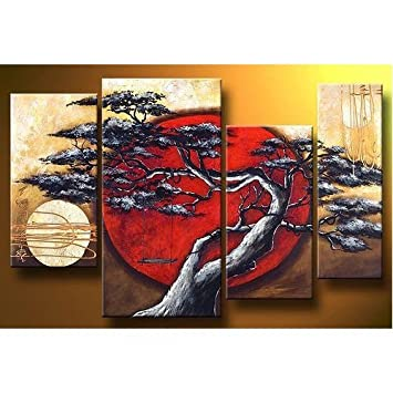 Bon Youniverseonline Canvas Wall Art Asian Zen Decorative Landscape Tree  Blossom Oil Painting Hand Painted Wall Art