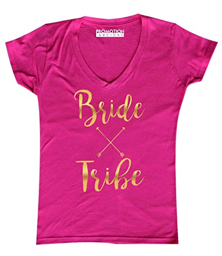 Bride Womens Pink T-shirt - Bride Tribe Wedding Bachelorette (Gold) Women's V-Neck, S, Pink