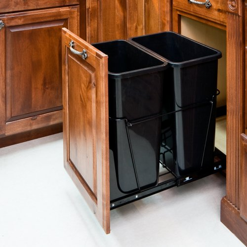 Trash Can Pull-Outs 35-Quart Black - Double Waste Container System/2 Cans Included & Door Kit