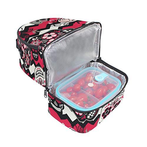 el azúcar térmica de correa FOLPPLY con almuerzo el para para de hombro calavera Bolsa ajustable diseño zt5qwS5