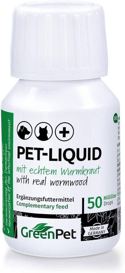 GreenPet Pet Liquid Desparasitación Anti Gusanos. Apto para perros, gatos y aves.