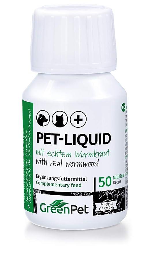 GreenPet 100% Natural Gusano (líquido Liquid Gota 50 ML – Perros, Gatos,