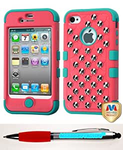 Accessory Factory(TM) Bundle (the item, 2in1 Stylus Point Pen) APPLE iPhone 4S 4 Natural Baby Red Tropical Teal TUFF Hybrid Phone Protector Cover (with Studs)(with Package)