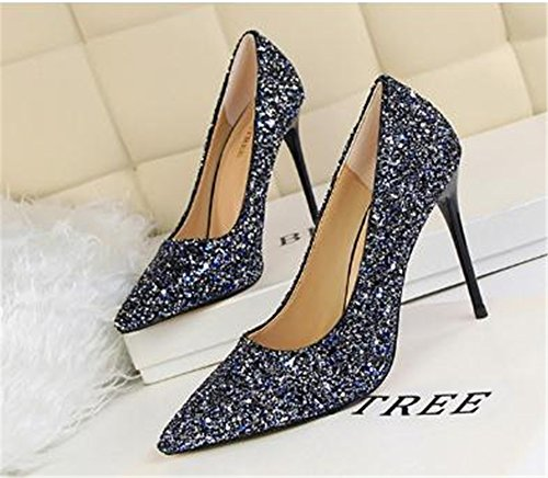 Sequins M High Shoes Wedding Toe Pointed US Blue Womens Pumps Pumps Women 3 B 34 Cloudless Heel Party vXtEZqnnw