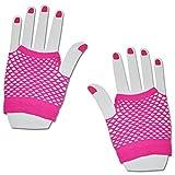 SHORT FISHNET HAND GLOVES PARTY FANCY DRESS TUTU (Neon Pink)