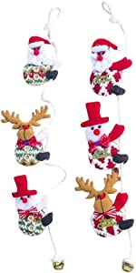Amosfun 2Pcs Santa Claus Climbing on Rope Ladder Snowman Reindeer Hanging Ornament Decor Christmas Xmas Party Home Door Wall Decoration