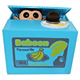 Funny Monkey Stealing Coin to Money Banana Box Kitty Bank Home Decor Gift US Seller