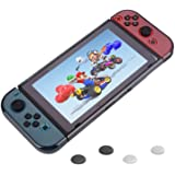 REDLEMON Funda Protector para Nintendo Switch y Joy-Con, de Policarbonato Transparente, Resistente a Golpes y Rayones, con Cubiertas de Silicón para Joystick Thumbs, color Humo