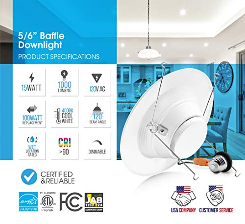 Parmida (12 Pack) 5/6 inch Dimmable LED Retrofit Recessed Downlight, 15W (120W Replacement), Baffle Metal Design, 1000lm, 4000K (Cool White), Energy Star & ETL, LED Ceiling Can Light, LED Trim by Parmida LED Technologies (Image #2)
