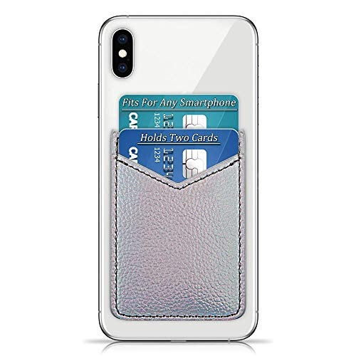 Leather Credit Card Holder Adhesive Cellphone Sleeve, Cell Phone Slim Card Wallet, Stick On Card Holder fits Most Cell Phones Cases, Credit Card Holder Pocket Wallet-Silver