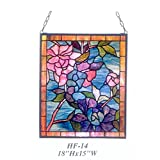 HF-14 Rural Vintage Tiffany Style Stained Church Art Glass Decorative Blue Style Floral Rectangle Window Hanging Glass Panel Suncatcher, 18''H15''W