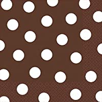 "Amscan Dots Disposable Luncheon Napkins Tableware for Parties (16 Piece), 6.5 x 6.5"", Chocolate Brown/White"
