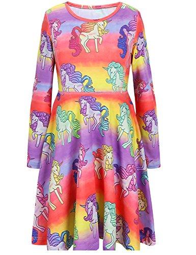 Jxstar Girls Long Sleeve Dress Winter Dress Hawaiian Dress Birthday For Girls Unicorn 150 by Jxstar