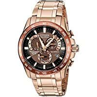 Citizen Men's Eco-Drive Perpetual Chrono Atomic Timekeeping Rose Gold-Tone Watch, AT4106-52X