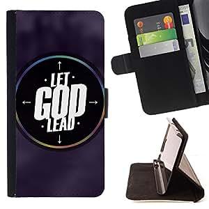BullDog Case - FOR/Samsung Galaxy S6 EDGE / - / LET GOD LEAD /- Monedero de cuero de la PU Llevar cubierta de la caja con el ID Credit Card Slots Flip funda de cuer