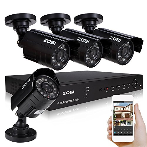 ZOSI 8-Channel HD-TVI 1080N/720P Video Security System DVR recorder with 4x HD 1280TVL Indoor/Outdoor Weatherproof...