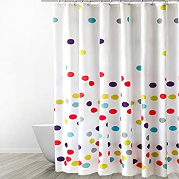 Eforgift Polka Dots Pattern Fabric Shower Curtain Waterproof No More Mildews Bathroom Curtains With