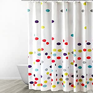Kids Polka Dot Curtains Amazon eforgift polka dots pattern fabric shower curtain kids shower accessories sisterspd