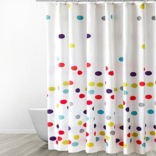Eforgift Polka Dots Pattern Fabric Shower Curtain Waterproof No More Mildews Bathroom Curtains With Free Hooks Multi Color 72 Inch By