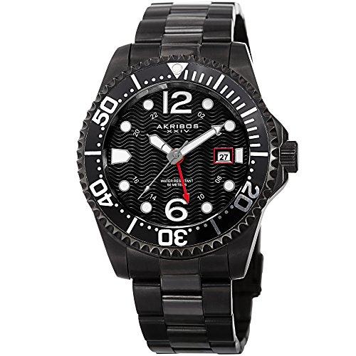Akribos XXIV Men's Diver Watch - Designer Stainless Steel Link Bracelet Wristwatch -Automatic Movement (Black)
