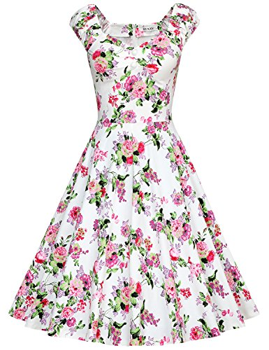 MUXXN Ladies Peony Print Strap Knee Length Semi Formal Dress (Peony Pink M)