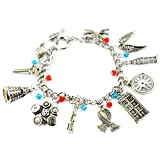 DOCTOR WHO Silver Tone' TV Inspired Charm Bracelet With Dalek Robot, Tardis,London Eye, Clock, Scarf And More Charms