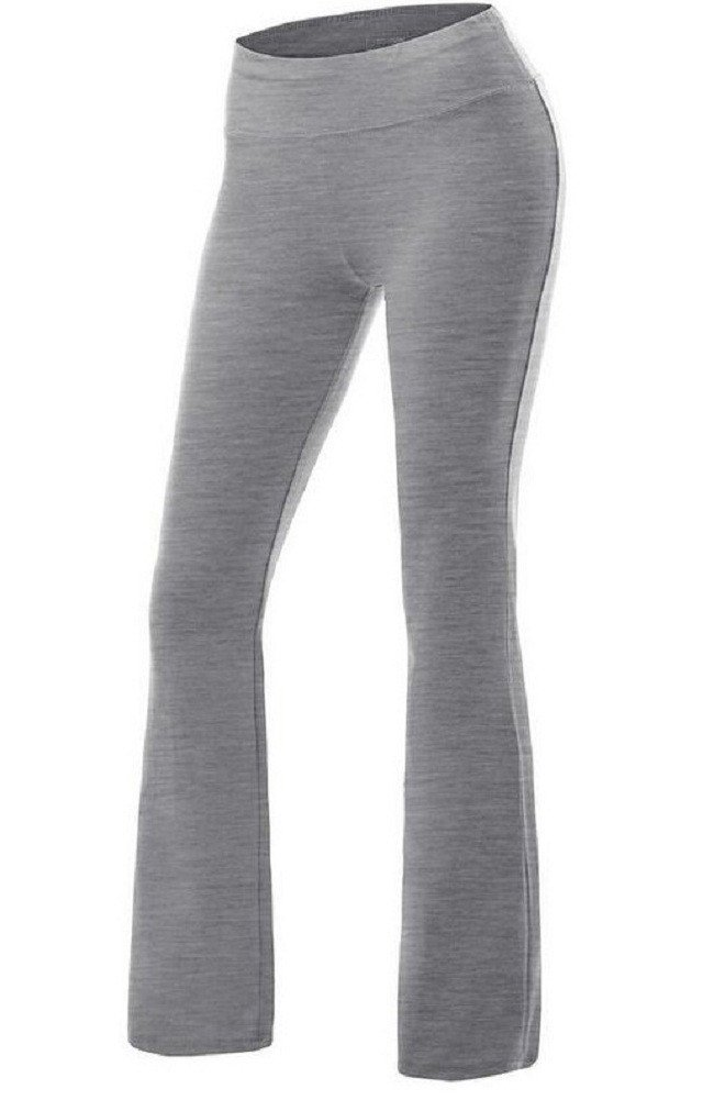 Sorrica Womens Casual Cotton High Waist Boot-Leg Everyday Yoga Pants (M, Grey)