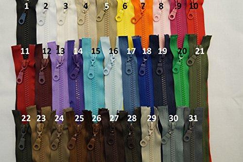 FIM Reißverschluss Plastik Zähne Nr.5 mittelgrob Teilbar für Jacken Farbe: 1 - schwarz (322), 80cm lang