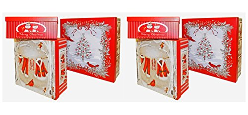 Set of 6 Alef Elegant Decorative Holiday Themed Nesting Gift Boxes -3 Boxes- Nesting Boxes Beautifully Themed and Decorated!