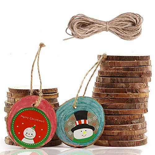 30 Pcs Unfinished Wood Slices 2-2.4 Inch Predrilled Wooden Circles with Hole Natural Hemp Ropes for Arts and Crafts DIY Craft Rustic Wedding Christmas Ornaments -