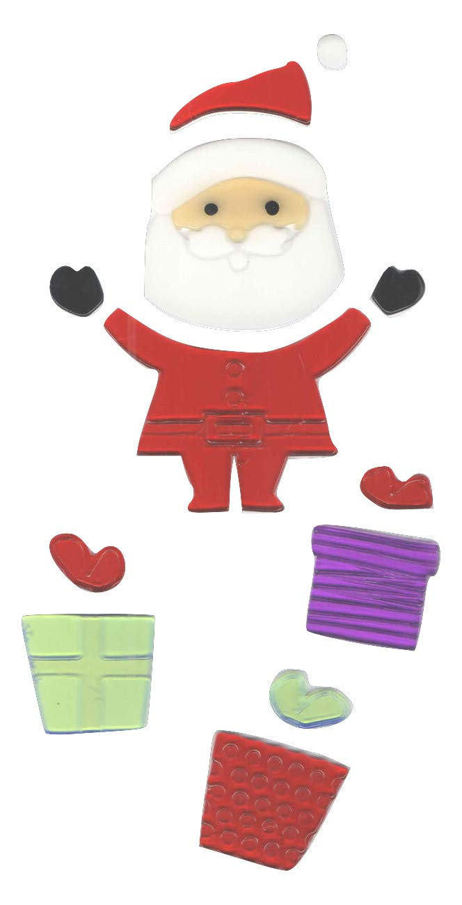Impact Innovations Christmas Reusable Gel Window Clings ~ Jolly St. Nick with Colorful Gifts (13 Clings, 1 Sheet)