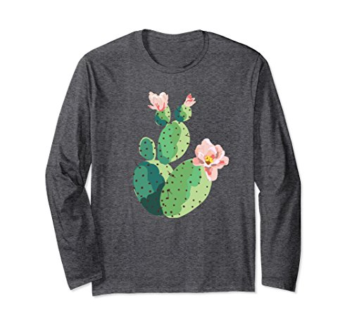 Unisex Beautiful Cactus Tree Pink Flowers Hand Drawn Painting Shirt Medium Dark - Flowers Pink Trees