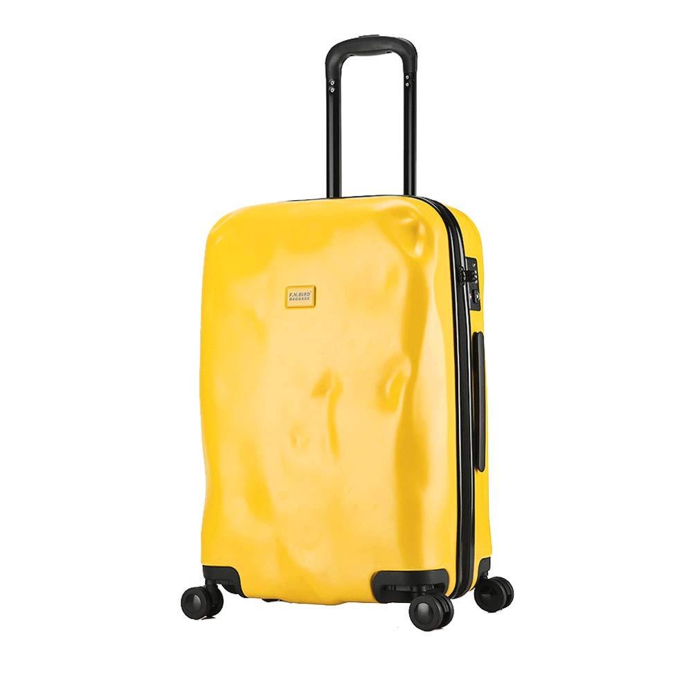 軽量20インチホイールトラベルバッグスーツケースラゲッジスーツケーススーツケース(ブラック)-yellow B07T48SPMR yellow