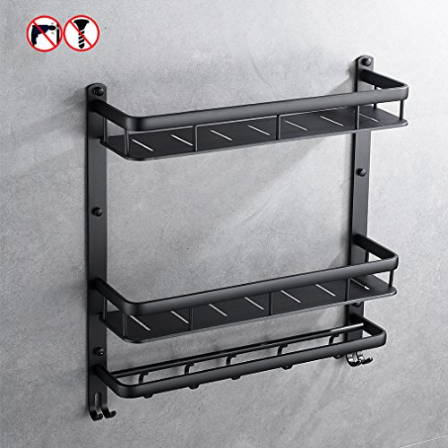 BESy Drill Free Aluminum Alloy Multi Function Bath Rack with Shower Towel Bar Bathroom 2-Tier Shelves and Cloth Towel Hook Wall Mounted Space Saving Organizer, Black Finish (Bronze Tile Hanging)