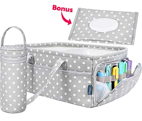 Baby Diaper Caddy Organizer | Baby Shower Registry Must Haves For Boy Girl Gifts Newborn Essentials Basket | Nursery Decor Changing Table Storage For New Mom With Bottle Cooler Bag -