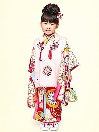 4909c563d672b  紅一点  七五三 3歳 女の子の着物と被布セット 正絹「薄
